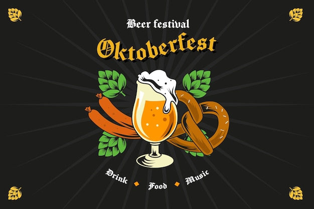 Oktoberfest achtergrond met de hand getekend