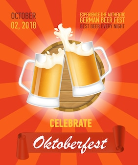 Oktoberfest, authentiek bierposterontwerp