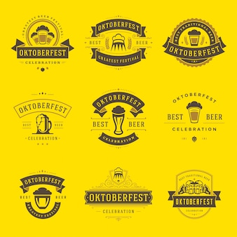Oktoberfest badges en etiketten of logo's instellen vintage