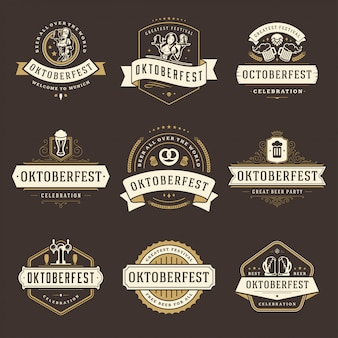 Oktoberfest badges en etiketten of logo set vintage