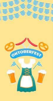 Oktoberfest-banner. traditionele duitse dirndl-jurk voor dames. bier, krakeling, worst.