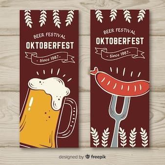 Oktoberfest banners hand getrokken