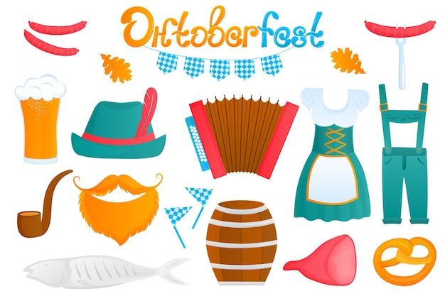 Oktoberfest beiers festival traditionele duitse dames dirndl jurk en heren lederhosen glas be