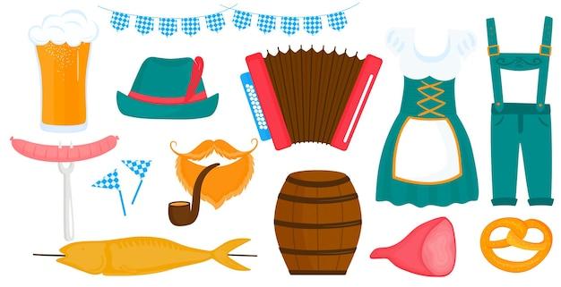 Oktoberfest beiers festival. traditionele duitse dirndl-jurk voor dames en heren. glas bier, accordeon, krakeling, worst.