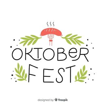 Oktoberfest belettering achtergrond met elementen