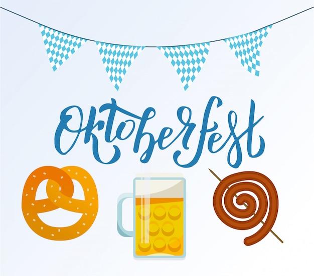 Oktoberfest belettering en bier, mok, snack, krakeling, worst
