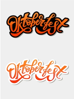 Oktoberfest belettering kalligrafie penseel tekst vakantie sticker