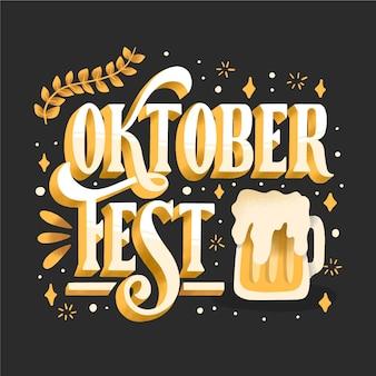 Oktoberfest belettering met bier getekend