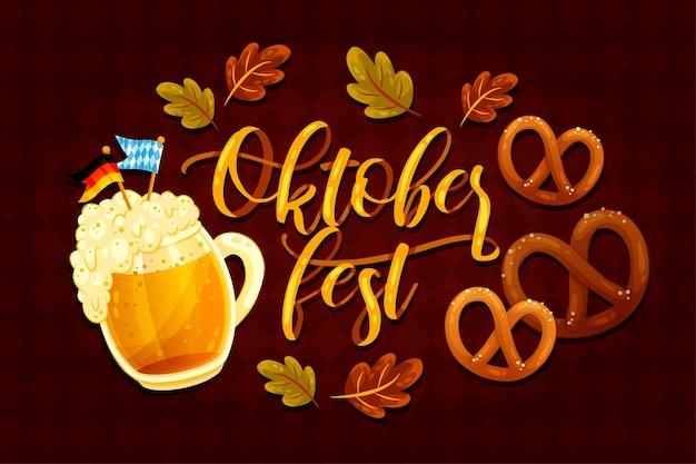 Oktoberfest belettering met pint en pretzels