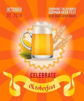 Oktoberfest, beste bier oranje posterontwerp