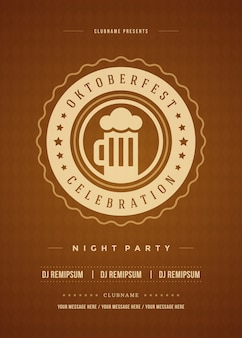 Oktoberfest bier festival viering partij retro typografie poster