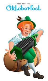 Oktoberfest bierfestival. jonge duitse man zit op een houten vat en speelt een accordeon. geïsoleerd op wit cartoon afbeelding