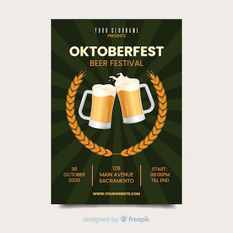 Oktoberfest bierfestival poster sjabloon
