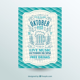 Oktoberfest, blauwe feestelijke poster