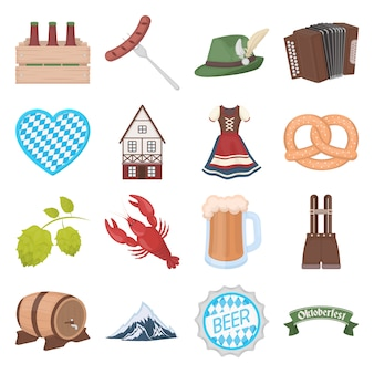 Oktoberfest cartoon vector icon set. vector illustratie van het meest oktoberfest festival.