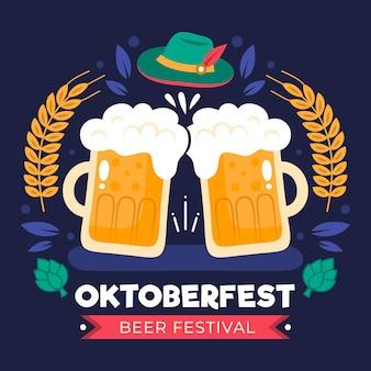 Oktoberfest concept in platte ontwerp