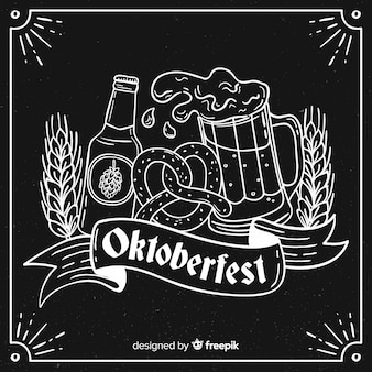 Oktoberfest concept met hand getrokken achtergrond