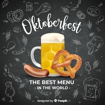Oktoberfest-conceptenachtergrond met bier en voedsel