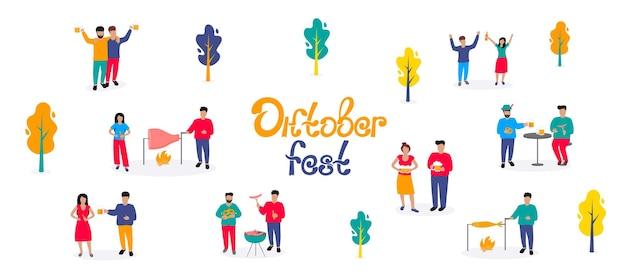 Oktoberfest - duits bierfestival. kleine mannen en vrouwen drinken wat en barbecueën. herfst buiten scène.