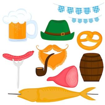 Oktoberfest duits festival. set van een bier, worst, krakeling, varkensham, vis op stok, vat, hoed