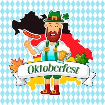 Oktoberfest duitse man concept, cartoon stijl