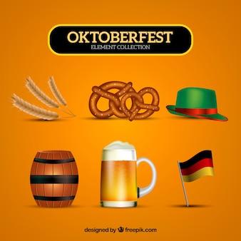 Oktoberfest elementen op een gele achtergrond