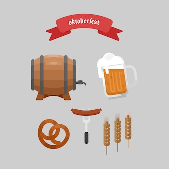 Oktoberfest elements vlakte illustratie