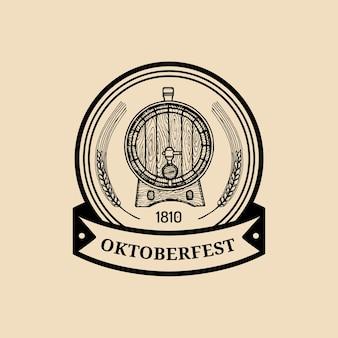 Oktoberfest etiket. bierfestival bord met hand geschetst houten vat. vintage brouwerij badge. wiesn-symbool.