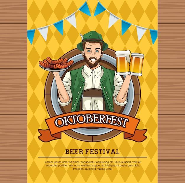 Oktoberfest-feestkaart met duitse man die bieren en worstjes opheft