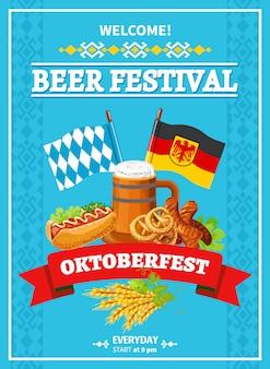 Oktoberfest festival welkom vlakke poster