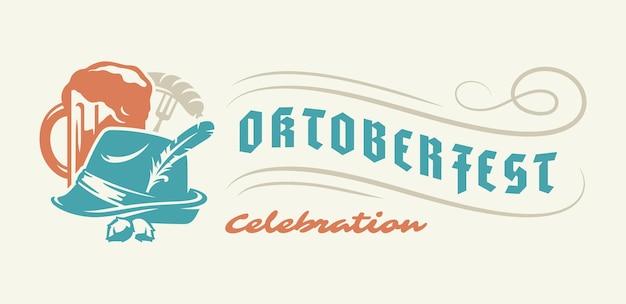 Oktoberfest flyer of banner retro typografie vector sjabloon ontwerp willkommen zum uitnodiging bier festival viering.