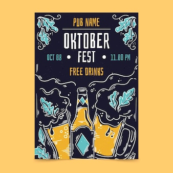 Oktoberfest flyer-sjabloon met bier