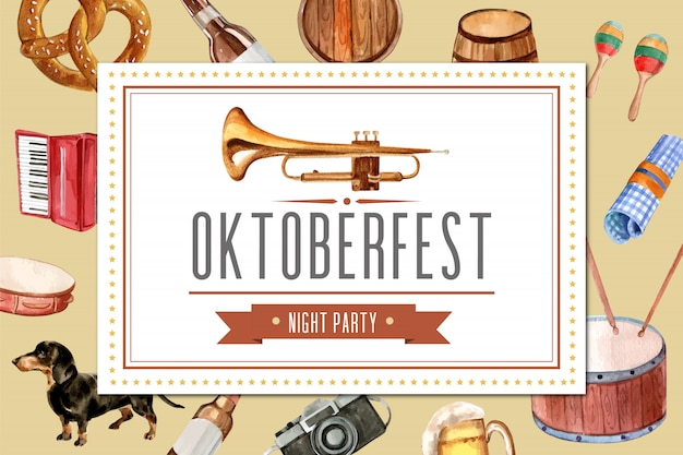 Oktoberfest frame design met entertainment, bieremmer, banner.