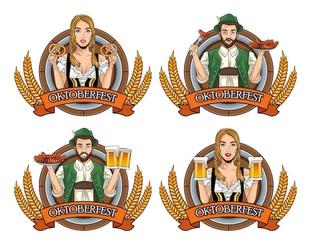 Oktoberfest-kaart met duitse mensen met eten en bier