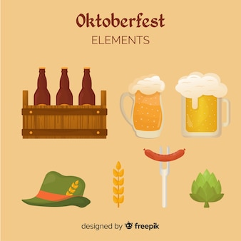 Oktoberfest klassieke elementenverzameling met vlak ontwerp