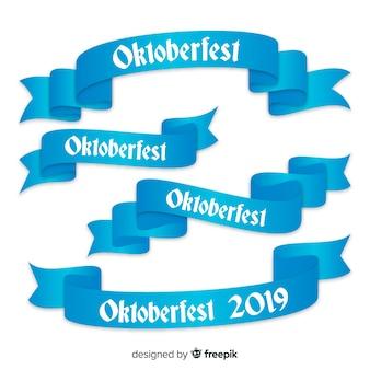 Oktoberfest linten collectie in platte ontwerp