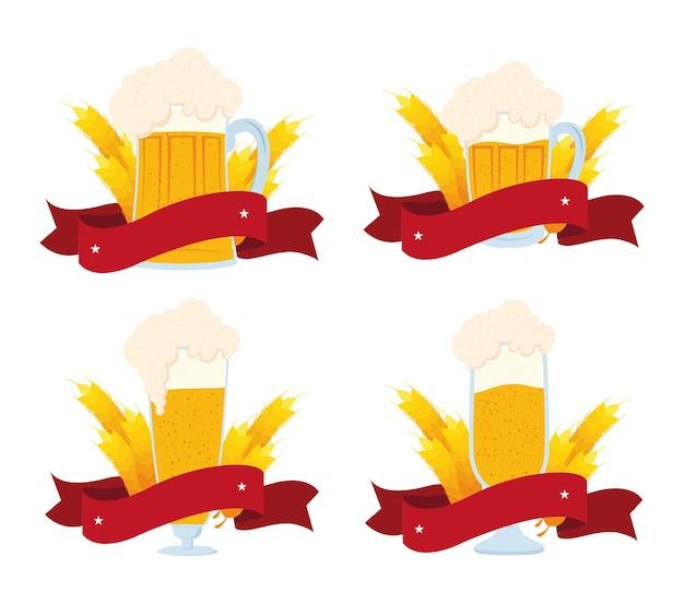 Oktoberfest-logo met bieren en spikeslinten