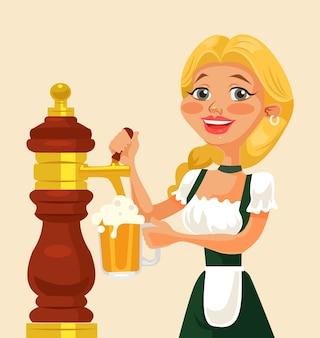 Oktoberfest meisje karakter bier gieten.