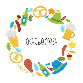 Oktoberfest menu achtergrond met bierworst krakeling tarwe bladeren hat