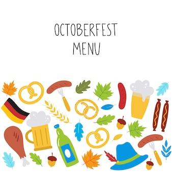 Oktoberfest menu achtergrond met bierworst krakeling tarwe bladeren hoed duitse vlag