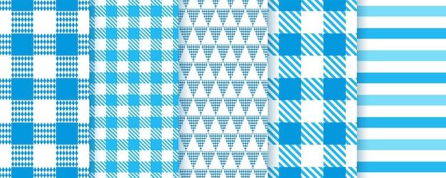 Oktoberfest naadloze patronen. geruite blauwe texturen. vector illustratie.