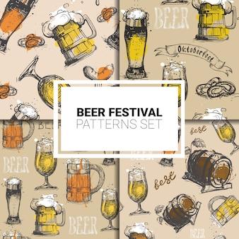 Oktoberfest naadloze patroon ingesteld duits bierfestival