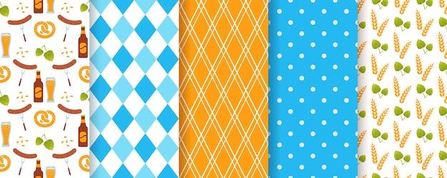 Oktoberfest naadloze patroon. octoberfest textuur met ruit, bier, korenaren en polka dot.