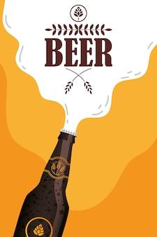 Oktoberfest partij belettering met fles vector illustratie ontwerp