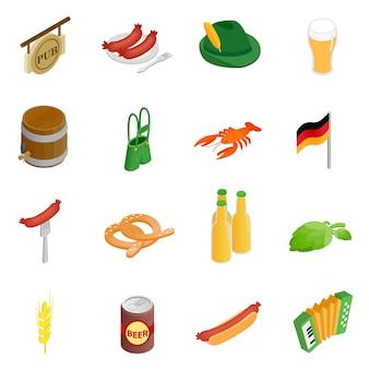 Oktoberfest partij isometrische 3d-pictogrammen