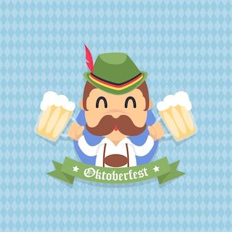 Oktoberfest pictogram achtergrondontwerp gratis vector