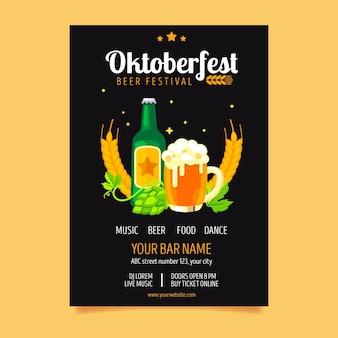 Oktoberfest poster in plat ontwerp