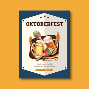 Oktoberfest poster met dans, plezier, eten, muzikale poster ontwerp aquarel illustratie