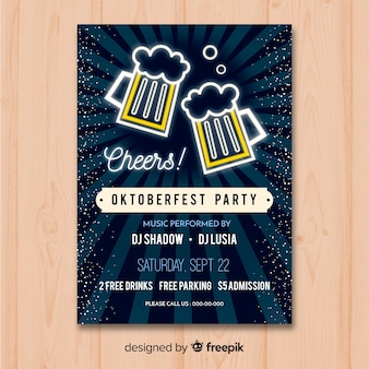 Oktoberfest poster mockup in plat ontwerp
