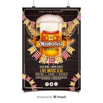 Oktoberfest poster sjabloon met realistische ontwerp